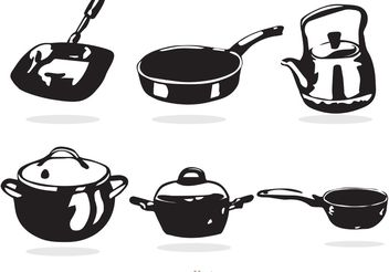 Black And White Cooking Pan Vectors - vector gratuit #146977