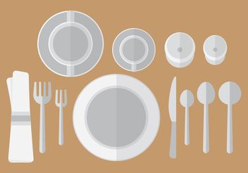 Flat Dinner Table Setting Vector - Free vector #147047