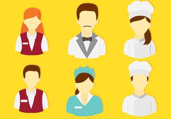 Set Of Restaurant and Hotel People Vectors - бесплатный vector #147117