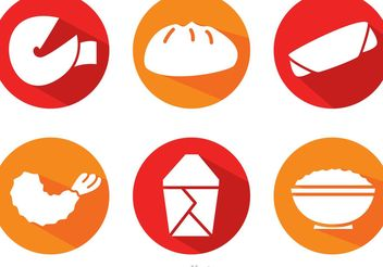 Vector Chinese Food Long Shadow Icons - Free vector #147167