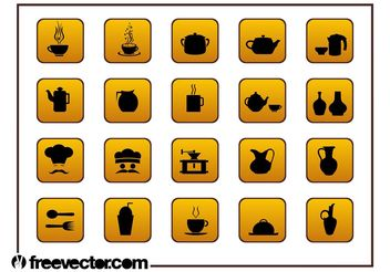 Food And Drinks Icons Set - vector gratuit #147177