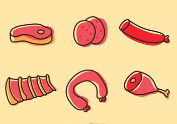 Cartoon Meats And Sausage Vectors Pack - Free vector #147217