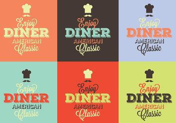 Typographic 50s Diner Signs - Free vector #147417