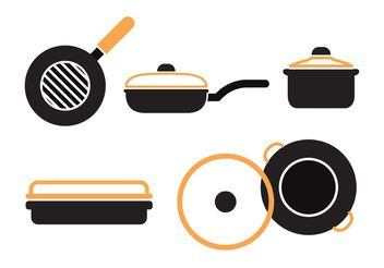 Pan with Handle Vector Set - vector #147587 gratis