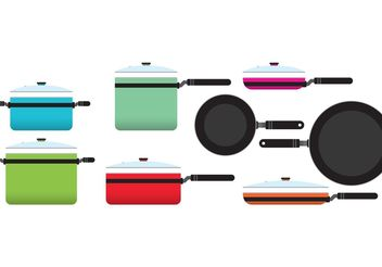 Colorful Kitchen Pans - Free vector #147677