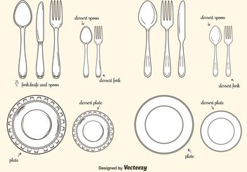 Collection Of Plates And Cutlery Vectors - Free vector #147687
