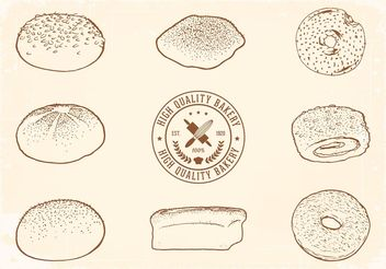 Free Hand Drawn Bread Vector Set - Free vector #147707