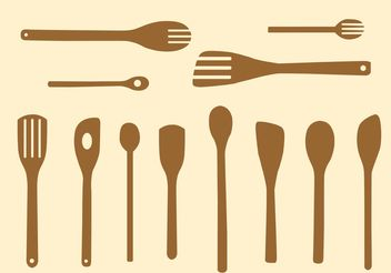 Simple Wooden Spoon Vectors - Free vector #147977