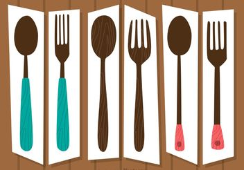 Retro Cutlery Sets Vectors Pack - vector gratuit #147997
