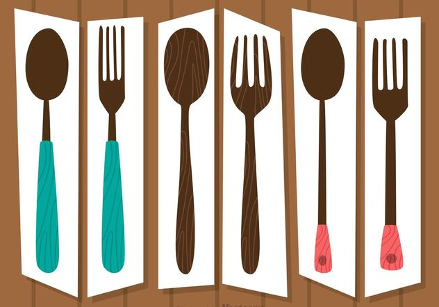 Retro Cutlery Sets Vectors Pack - Free vector #147997