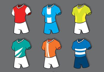 Various Soccer Sports Jersey Vectors - Free vector #148127