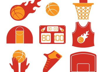 Hot Basketball Vector Icons - Free vector #148167