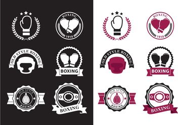 Old Time Boxing Badge Vectors - Free vector #148287