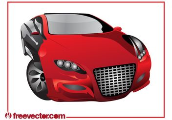 Red Sports Car Graphics - vector gratuit #148377