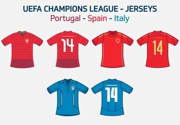UEFA Team Jerseys Portugal Spain Italy Vector Free - Kostenloses vector #148427