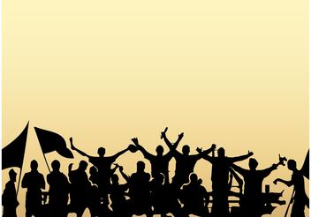 Crowd Silhouettes - vector gratuit #148577