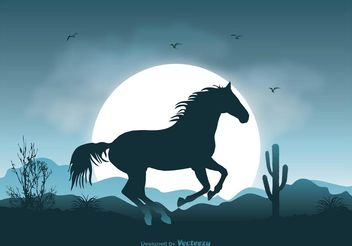 Wild Horse Landscape Illustration - Free vector #148607