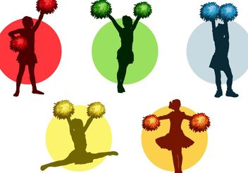 Cheerleader with Pom poms Vector Pack - Free vector #148677