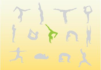 Yoga People Silhouettes - Free vector #148757