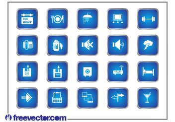 Blue Square Icons - Free vector #148837