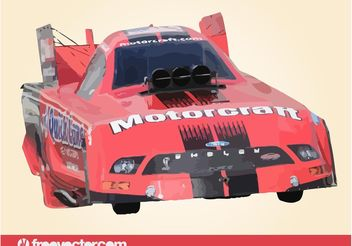 Red Drag Race Car - Free vector #149127
