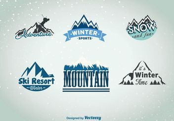 Winter Mountain Sport Insignias - vector gratuit #149217
