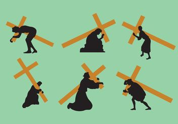 Jesus Carrying The Cross Vectors - vector gratuit #149457