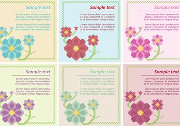 Floral Cross Stitch Vector Templates - Free vector #149587