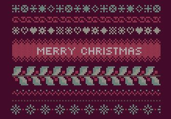 Cross Stitch Christmas Set - Free vector #149607