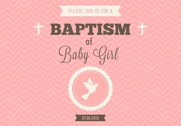 Kostenlose Baby Mädchen Taufe Vektor Einladung Kostenloser