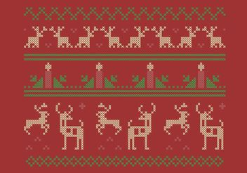 Cross Stitch Christmas Set - Free vector #149627
