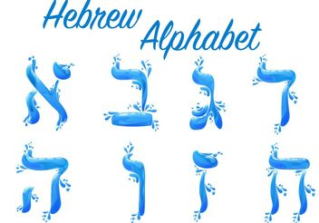 Watery Hebrew Alphabet Vector Pack - Free vector #149827