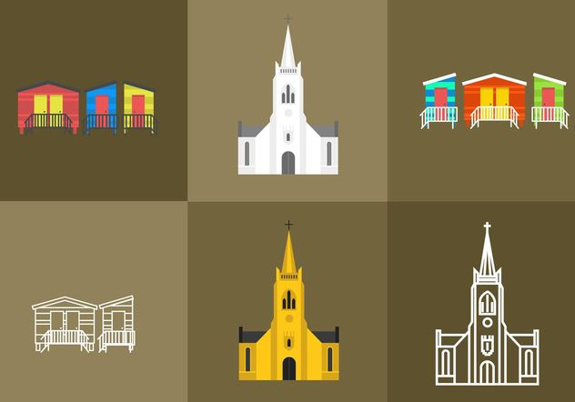 Cape Town Churches and Beach House Vectors - Free vector #149887