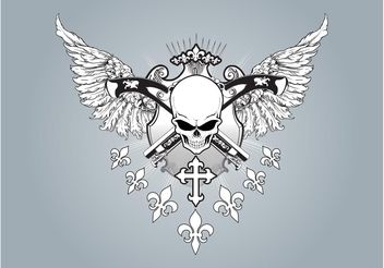 Winged Skull Vector - бесплатный vector #150097