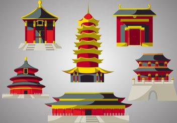 Chinese Temple Vector Pack - vector gratuit #150157