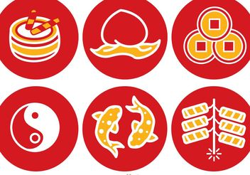 Lunar New Year Round Icons Vector - vector gratuit #150197