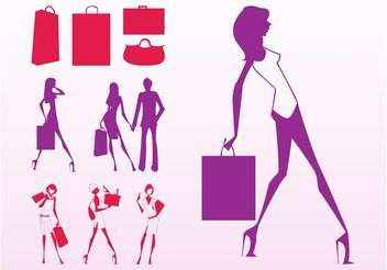 Shopping Girls Silhouettes - vector gratuit #150407