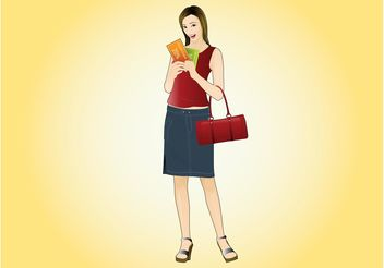 Woman With Discount Cards - Free vector #150977