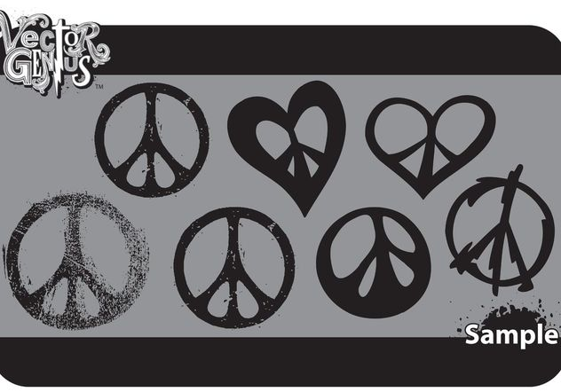 Free Peace Sign Vector Art and Grungy Peace Vector Set - vector gratuit #151027