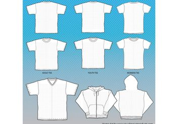 T-Shirts Mock-Up Templates with Grid - vector gratuit #151247