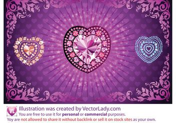 Diamond Heart Vectors - vector gratuit #151287