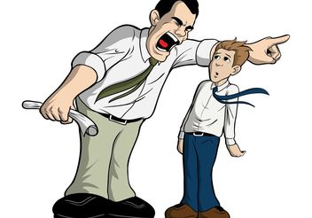 Man Getting Fired By Mean Boss - vector #151497 gratis