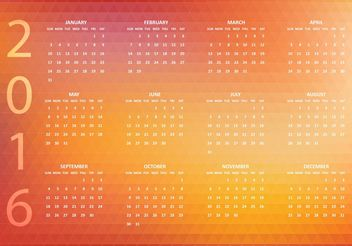Free Abstract Vector 2016 Polygonal Calendar - Kostenloses vector #152287