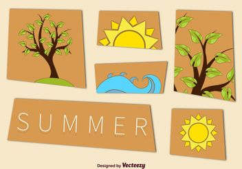 Summer Tree and Beach Graphics - vector gratuit #152607