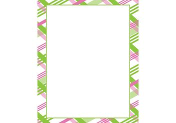 Pink & Green Plaid Frame Vector - vector gratuit #152707