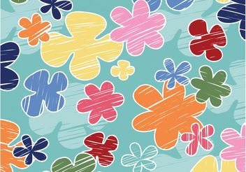 Cartoon Flowers Background - Free vector #152717