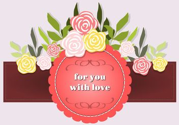 Vector Ribbon with Flowers and Dedication - Free vector #152727