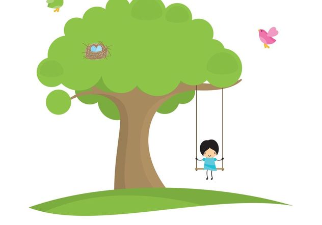 Girl Swinging In Tree Vector Background - Free vector #152797