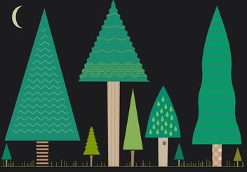 Set of Flat Tree Vectors at Night - vector #152877 gratis