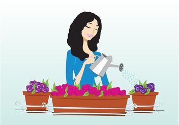 Woman Watering Plants - Free vector #152957
